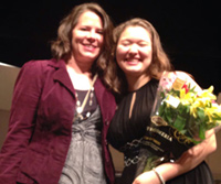 Student Amy Minnoch after performing as soloist with DSO