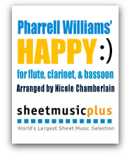 Pharrell Williams' Happy for flute, clarinet, and bassoon