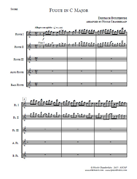 Fugue in C Major for Flute Choir